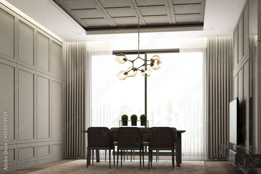 Fototapety, obrazy: Interiors image scene design of Modern luxury dining area with classical element detail wall decoration and furniture set. 3d rendering