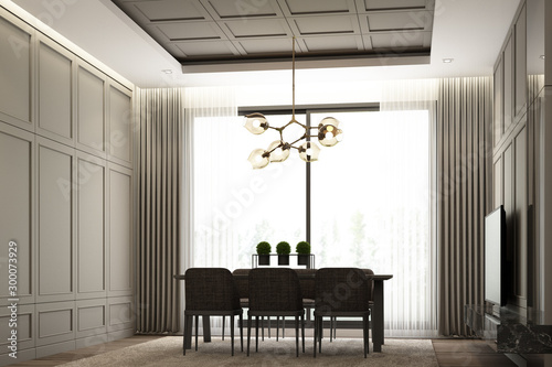 Fotografía  Interiors image scene design of Modern luxury dining area with classical element detail wall decoration and furniture set