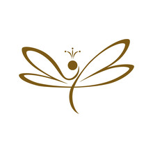 Dragonfly Logo. Abstract Concept, Icon. Vector Illustration On White Background.