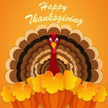 Thanksgiving Day. Turkey With Ripe Pumpkin Crop. Paper Cut Background Style.