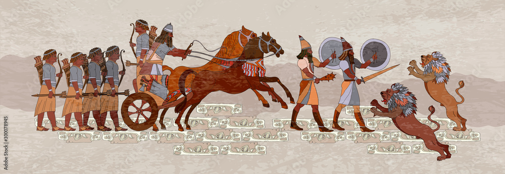 Fototapety, obrazy: Ancient Sumerian culture. Akkadian Empire. Mesopotamia. Middle East history. Ancient civilization art. King on chariot. Lion and warrior. Scene of fight