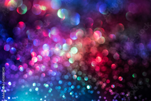 Obraz glitter bokeh lighting effect Colorfull Blurred abstract background for birthday, anniversary, wedding, new year eve or Christmas - fototapety do salonu
