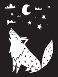 Fototapeta Dinusie - Wolf howls at the moon in the night. Monochrome scandinavian vector illustration in simple style