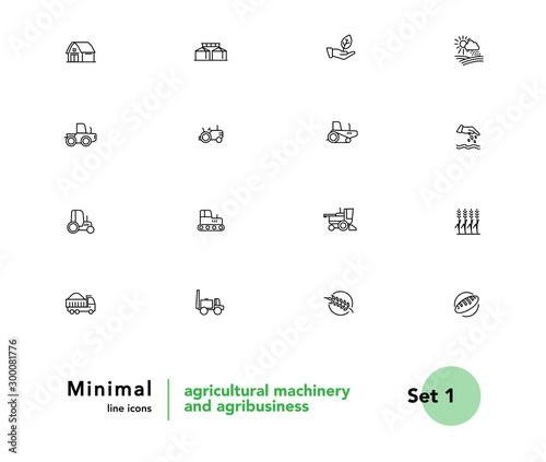 Agricultural machinery and agribusiness vector linear icons set Canvas Print