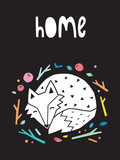 Fototapeta Dinusie - Home. Night print with sleeping fox. Scandinavian style. Vector illustration