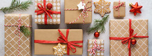 Collection Of Christmas Gift Boxes, Toys And Decoration. Banner.