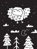 Fototapeta Dinusie - Owl flying over the forest. Monochrome scandinavian vector illustration in simple style