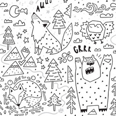 Black and white seamless pattern of cute animals - fox, bear, owl, wolf and graphic elements in geometric style. Vector illustration