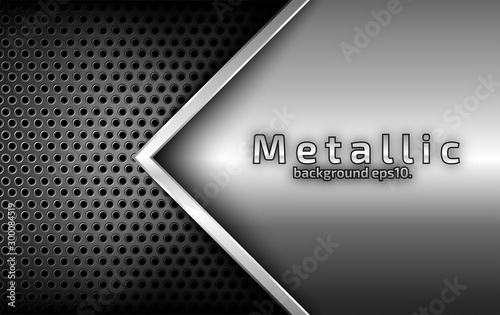 Fototapety, obrazy: The abstract black background image overlaps with the silver lines. Metal style Modern concepts for design templates