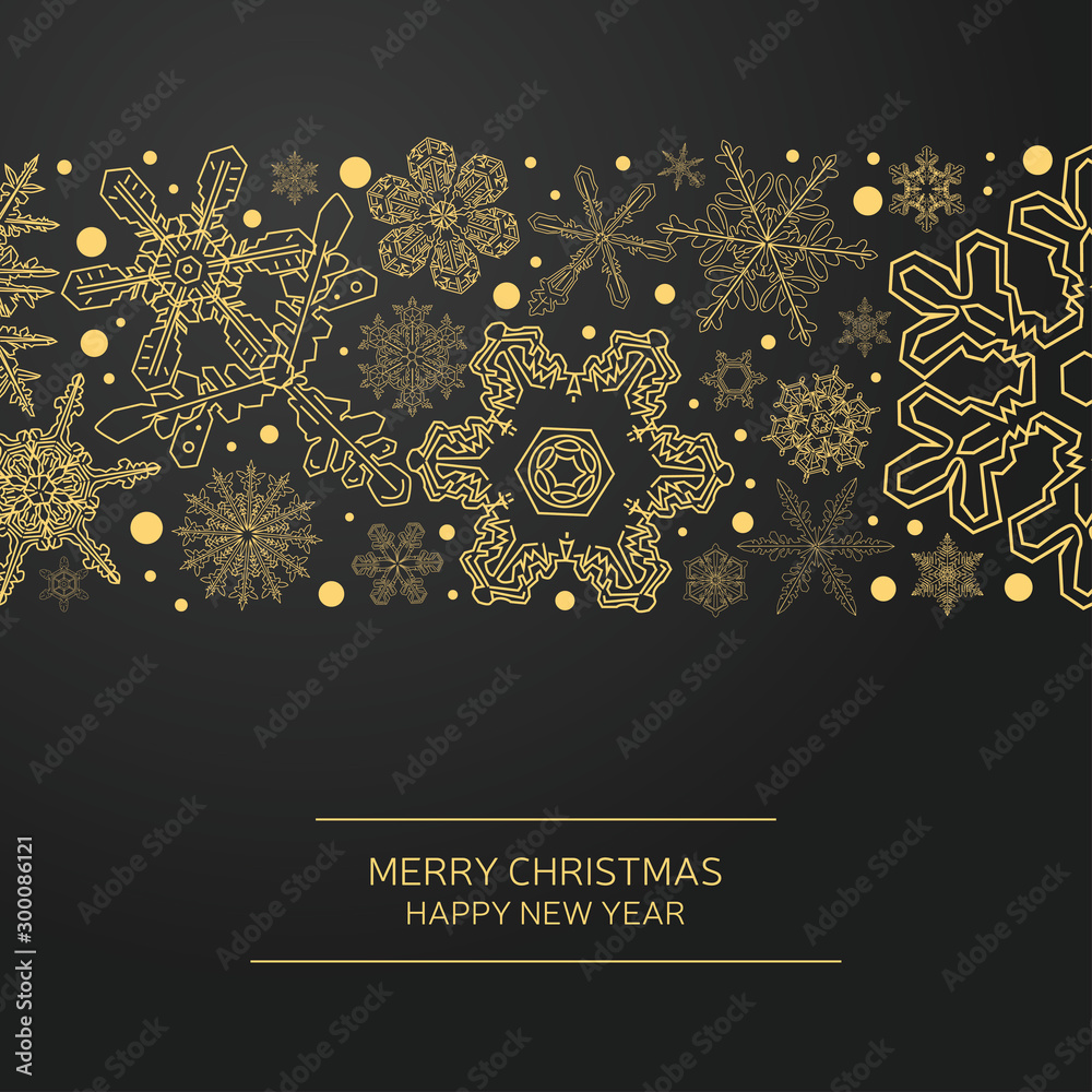 Fototapety, obrazy: New Year holidays greeting card. Christmas holiday invitation. Ornament with snowflakes.
