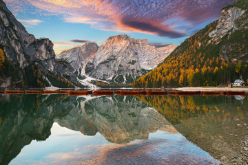 Lago di Braies lake and See...