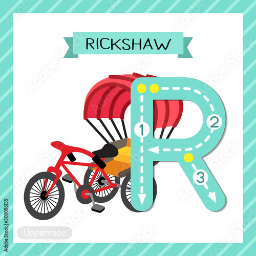 Photo Letter R uppercase tracing. Rickshaw