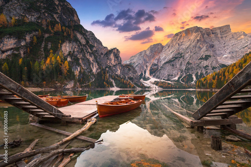 Lago di Braies lake and Seekofel peak at sunrise, Dolomites. Italy