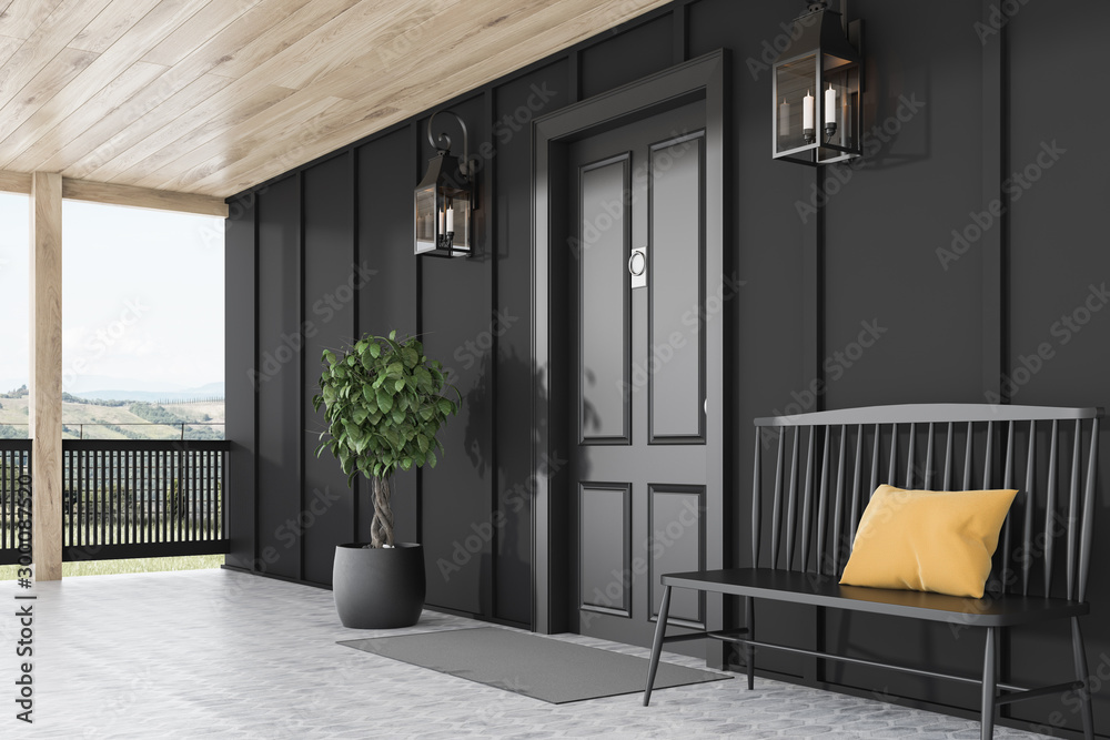 Fototapety, obrazy: Black front door of black house, bench, side view