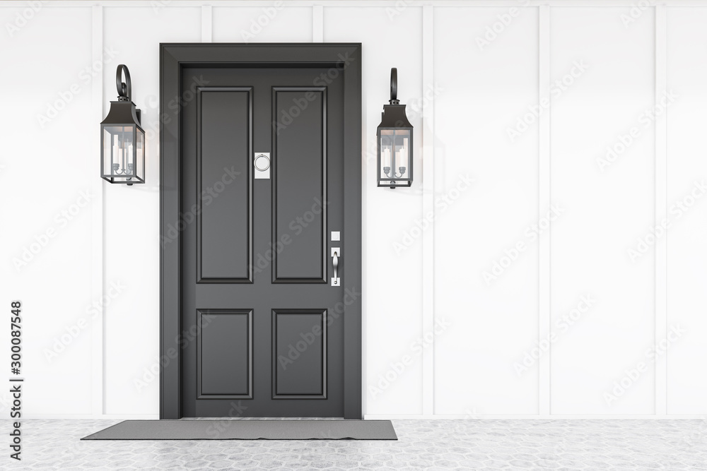 Fototapeta Black front door of white house with mat