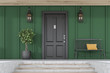 Black front door of green house, tree and bench