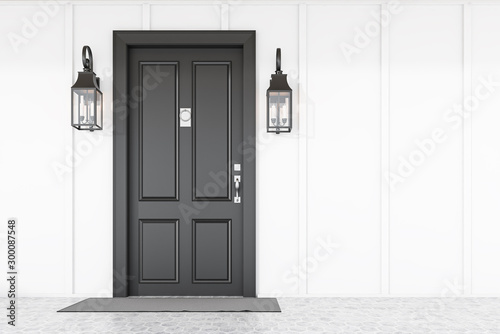 Poster Countryside Black front door of white house with mat