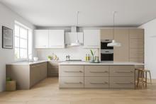 White And Beige Kitchen Interi...