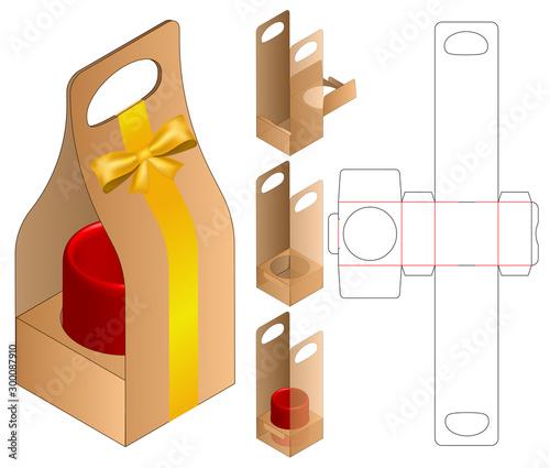 Canvas Print Box packaging die cut template design. 3d mock-up