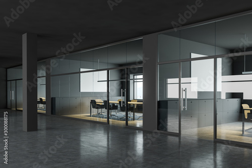 Fototapeta Gray conference rooms in business center hall obraz na płótnie