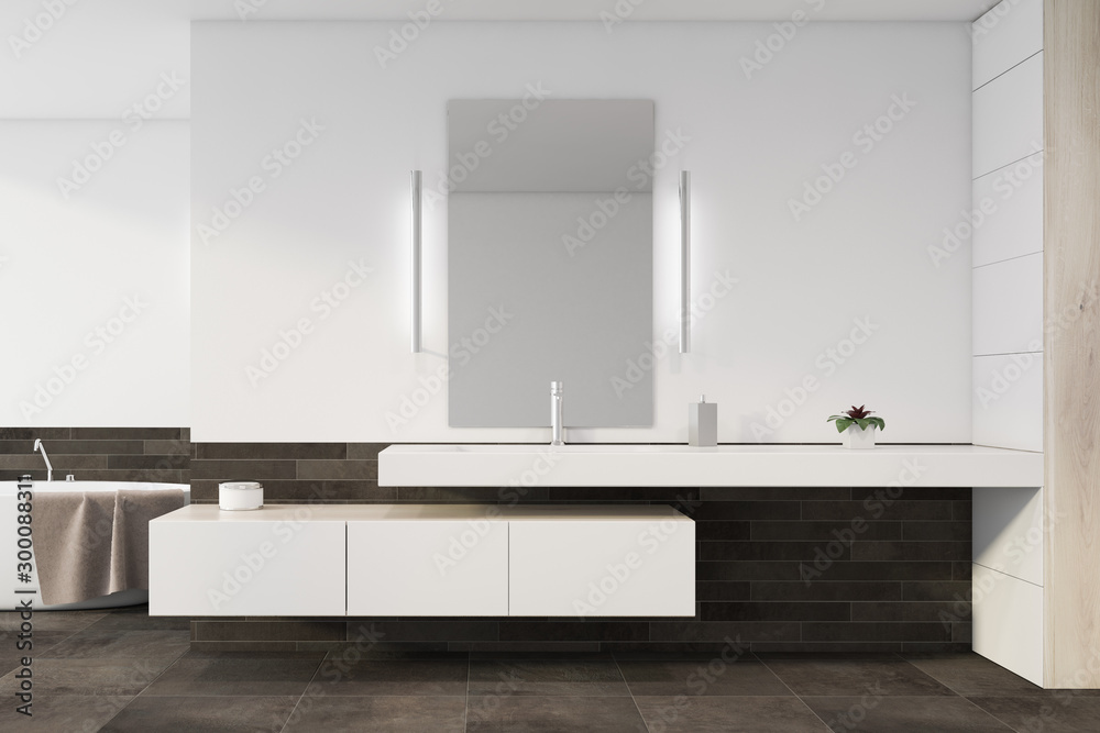 Fototapety, obrazy: Sink and tub in white and gray tile bathroom