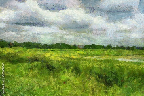 Foto auf Leinwand Dunkelgrau Meadow, sky and forest Illustration creating Impressionist painting.
