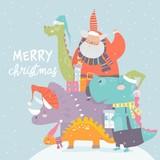 Fototapeta Dinusie - Cartoon Santa Claus with gifts sitting on dinosaur