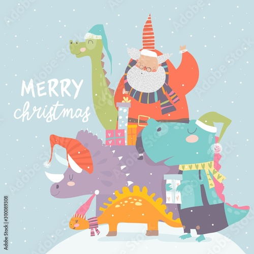 Cartoon Santa Claus with gifts sitting on dinosaur
