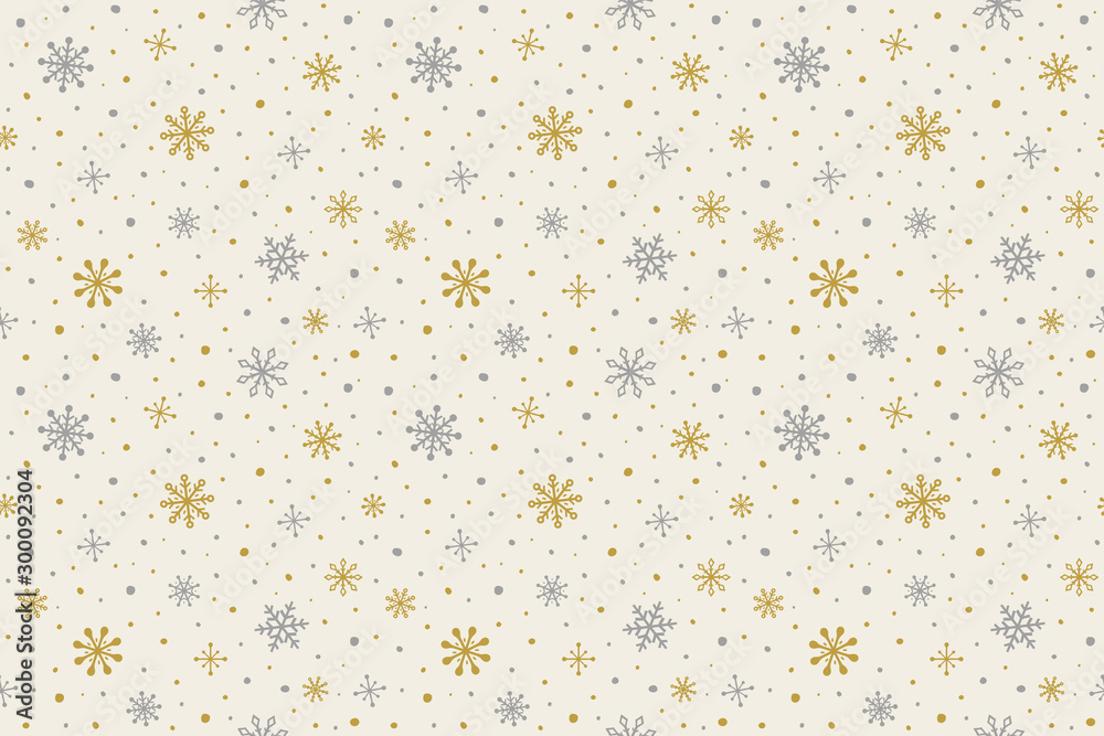 Fototapety, obrazy: Pattern with hand drawn snowflakes. Christmas background. Vector