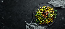 Olives In A Bowl, Olive Oil, S...