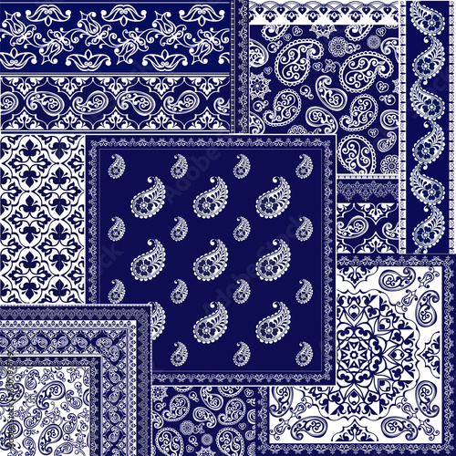 Obraz na plátně Collection oriental seamless paisley patterns
