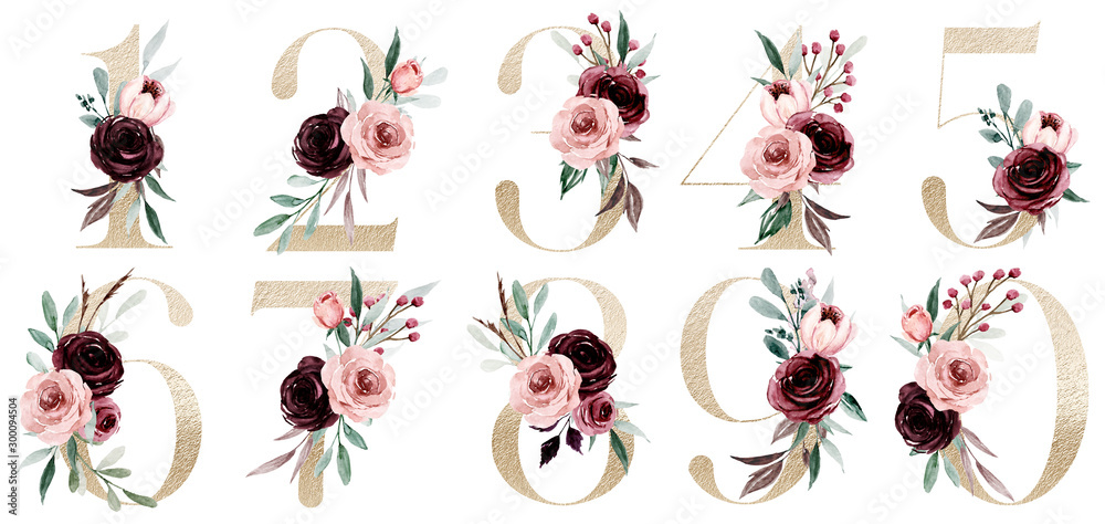 Fototapeta Gold numbers set with watercolor flowers roses and leaf. Perfectly for wedding invitation, greeting card, logo, poster and other floral design. Hand painting. Isolated on white background.