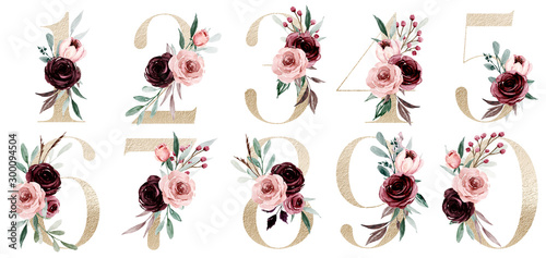 Gold numbers set with watercolor flowers roses and leaf Canvas Print