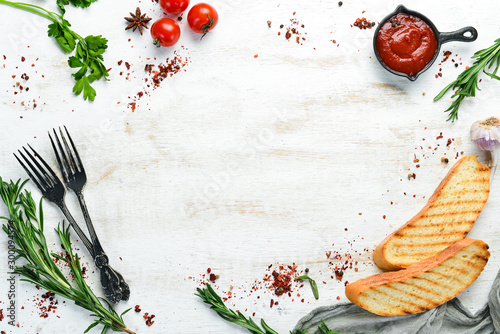 Fototapeta Food banner. Vegetables and spices. Top view. Free copy space. obraz
