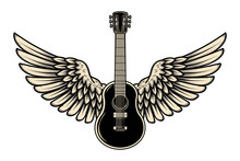 Illustration Of Winged Guitar ...