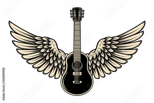 Illustration of winged guitar isolated on white background Wallpaper Mural