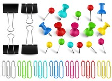 Colorful Pushpins And Paperclips Binders. Color Paper Clip, Red Pushpin And Office Papers Clamp. Realistic Pins Vector Set. Multicolored Stationery Items. Collection Of Bright Paper Accessories