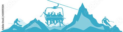 Chairlift Ski Mountain Vector Silhouette Wallpaper Mural
