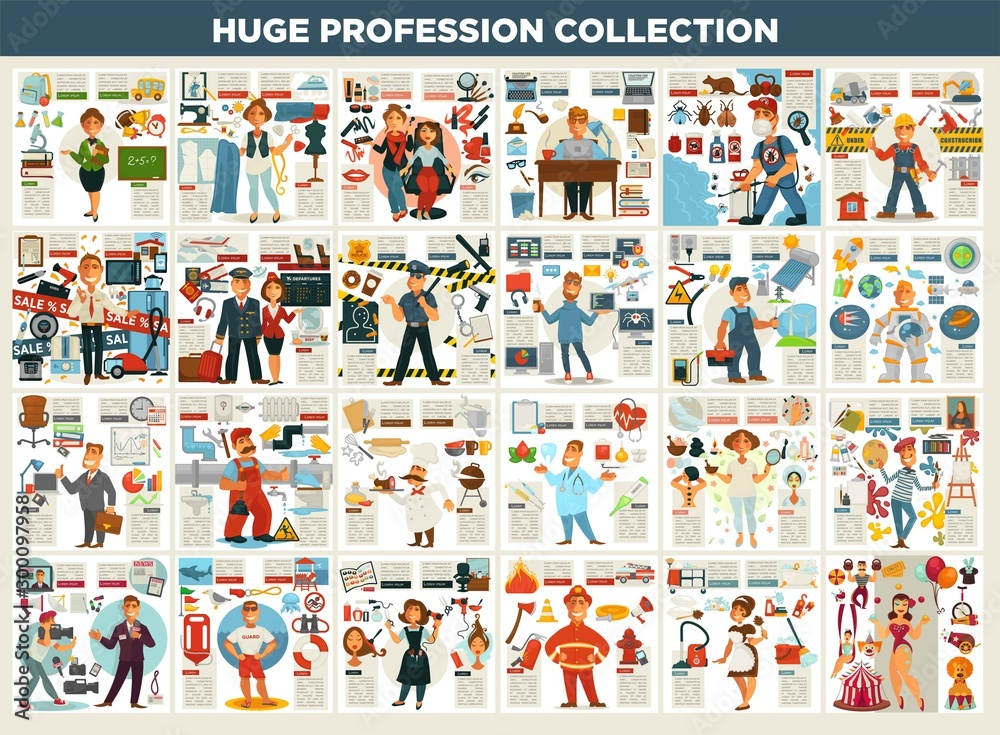 Fototapeta Profession collection work and job career and working equipment