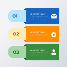 Three List Infographic Template Design. Business Concept Infograph With 3 Options, Steps Or Processes. Vector Visualization Can Be Used For Workflow Layout, Diagram, Annual Report, Web