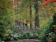 canvas print picture English Autumn Garden with Bridge