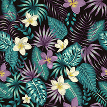 Vector Seamless Pattern Of Emerald Green Tropical Leaves With White And Purple Plumeria Flowers On Black Background. Summer Or Spring Repeat Tropical Backdrop. Exotic Jungle Ornament..