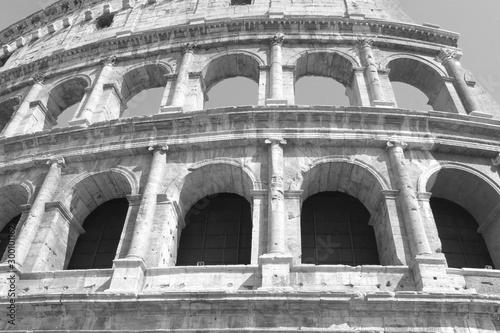 Black and white photo of Colosseum in Rome - Flavian Amphitheatre closeup, Italy, Europe Tapéta, Fotótapéta