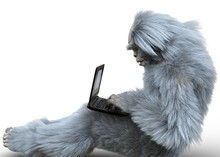 Yeti With Laptop Concept 3d Illustration Isolated On White Background