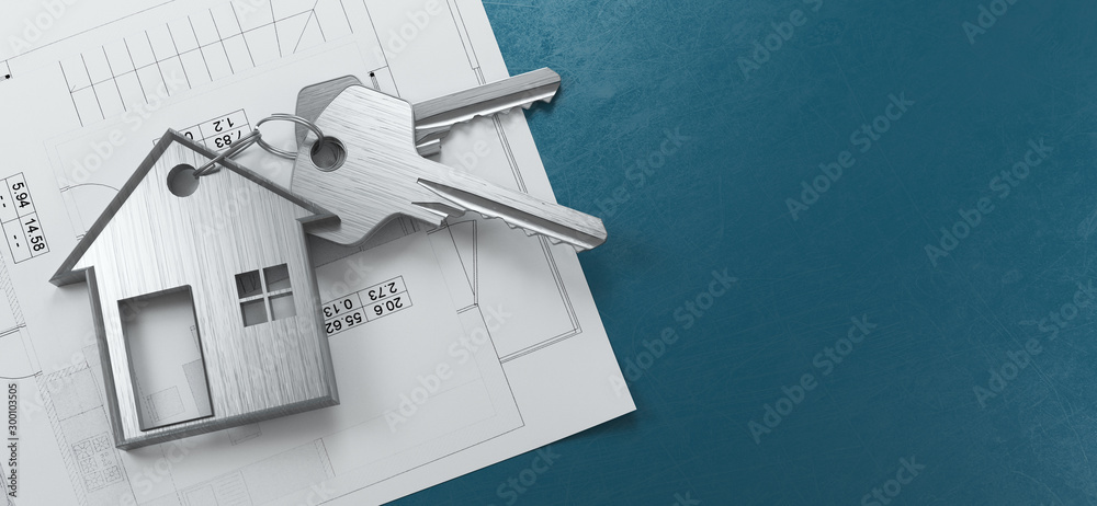 Fototapeta Mortgage, investment, real estate and property concept - close up of house keys. 3d rendering