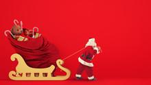 Santa Claus Drags A Large Sack...