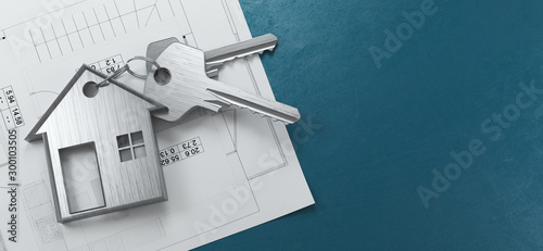 Obraz Mortgage, investment, real estate and property concept - close up of house keys. 3d rendering - fototapety do salonu