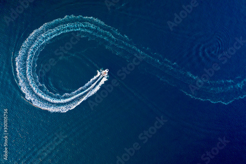 Motorboat on the lake aerial view