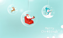 Merry Christmas, Glossy Ball Hanging Decoration, Santa Claus With Gift, Reindeer And Snowman, Celebration Greeting Card, Winter Holiday Season Background Vector