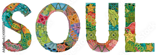 Obraz Word SOUL. Vector zentangle object for decoration - fototapety do salonu